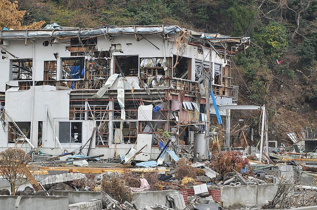 Devestation caused by the 2011 Tōhoku earthquake and tsunami.
