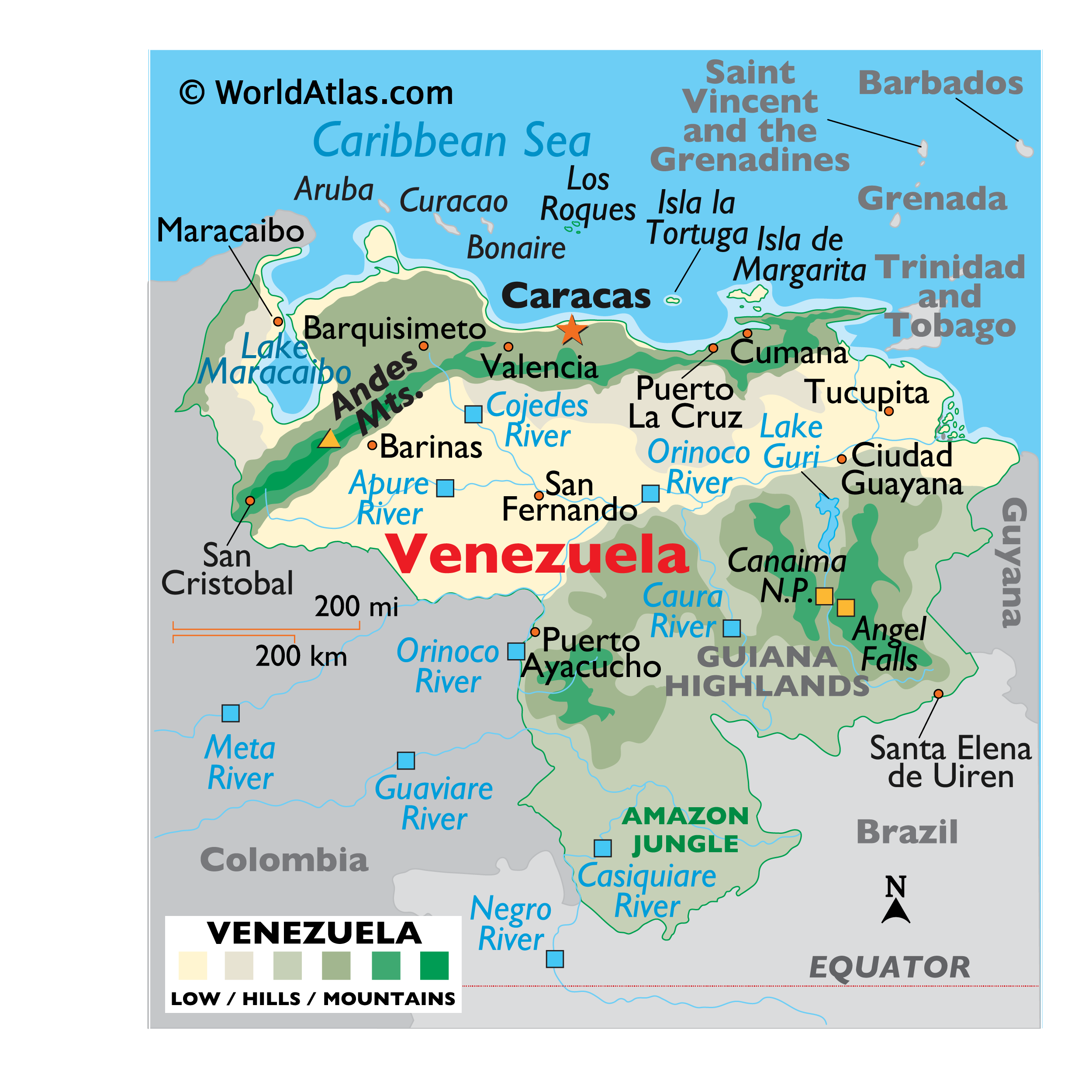 Physical Map of Venezuela showing relief, mountains, major lakes and rivers, the Angel Falls, Amazon Jungle, important cities, bordering countries, and more.