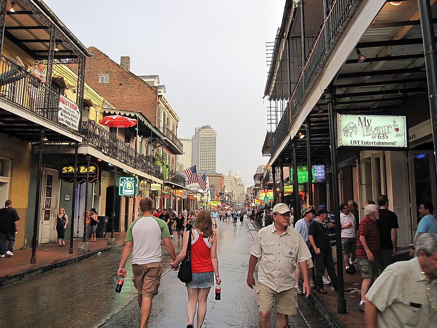Bourbon Street, looking southwest toward Canal Street, in late afternoon after a shower. Image credit: InSapphoWeTrust/Wikimedia.org