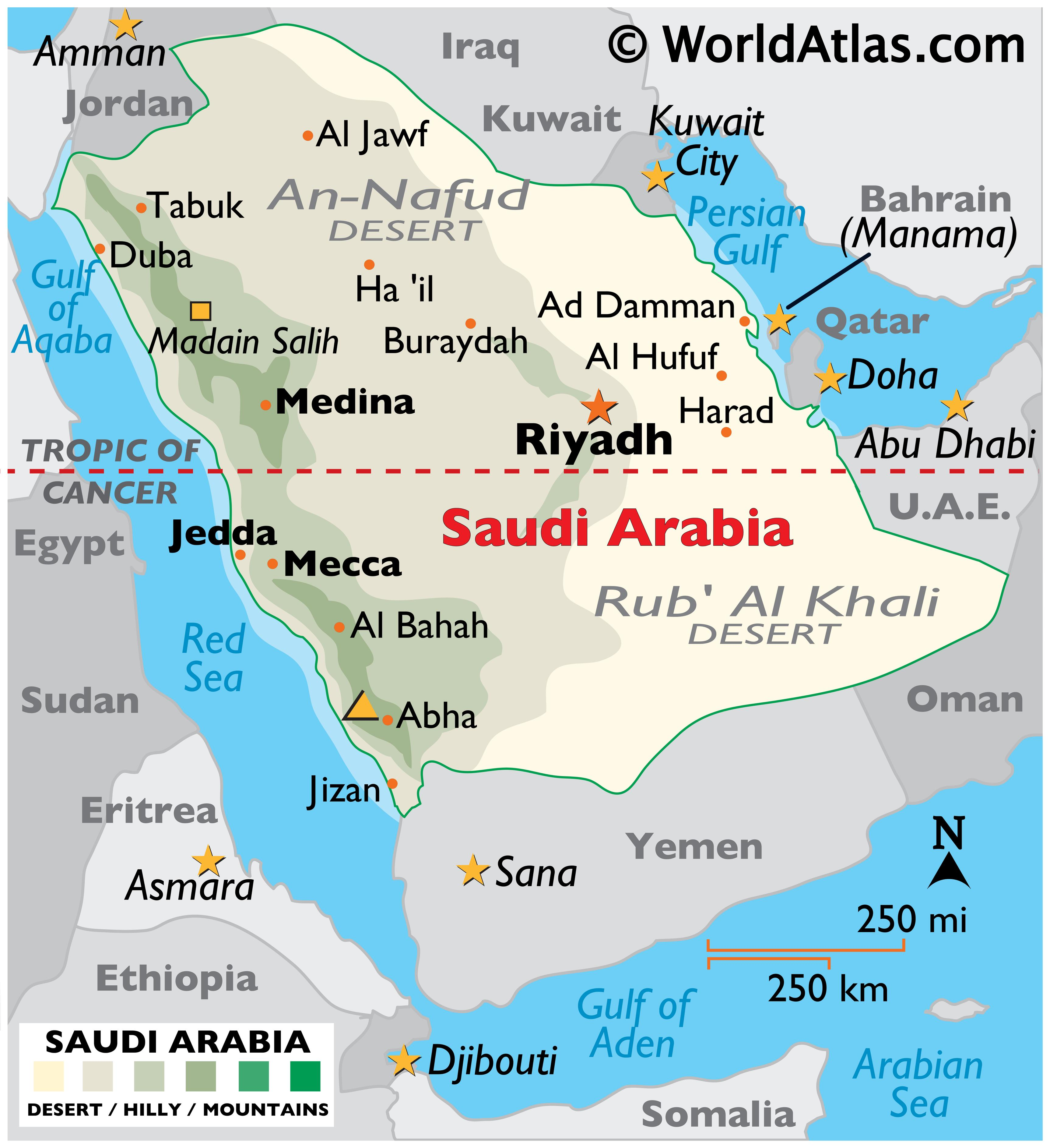 Physical Map of Saudi Arabia showing state boundaries, relief, major islands, important cities, and more.