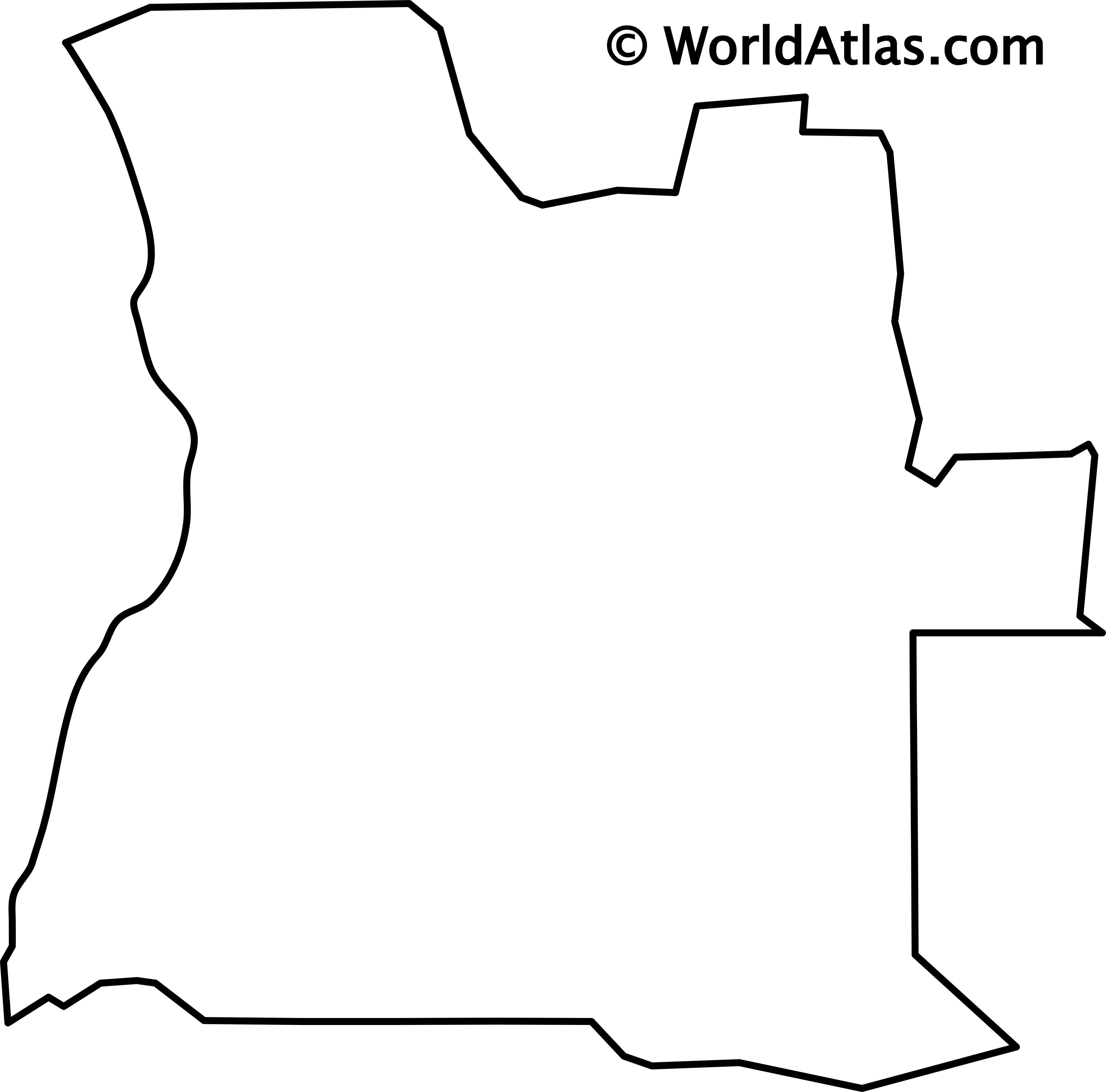 Blank Outline map of Angola