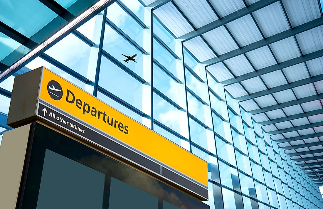 A departures sign at Heathrow Airport in London, which is also Europe's busiest.