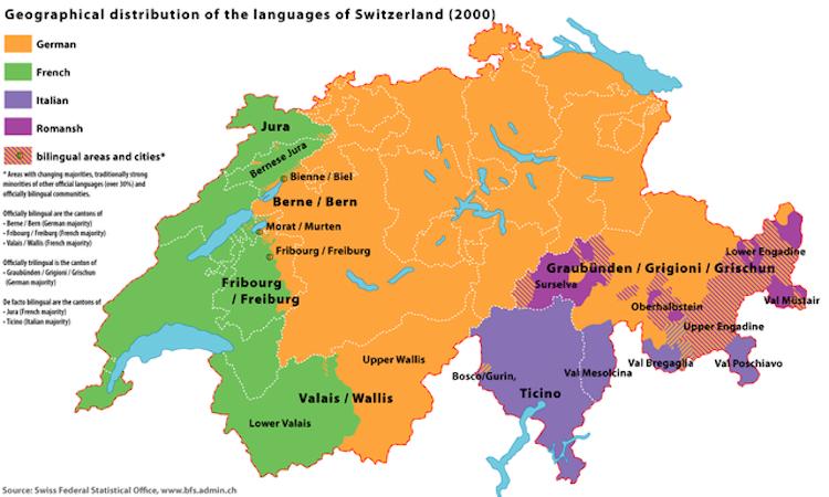 Languages spoken in switzerland worldatlas gumiabroncs Gallery