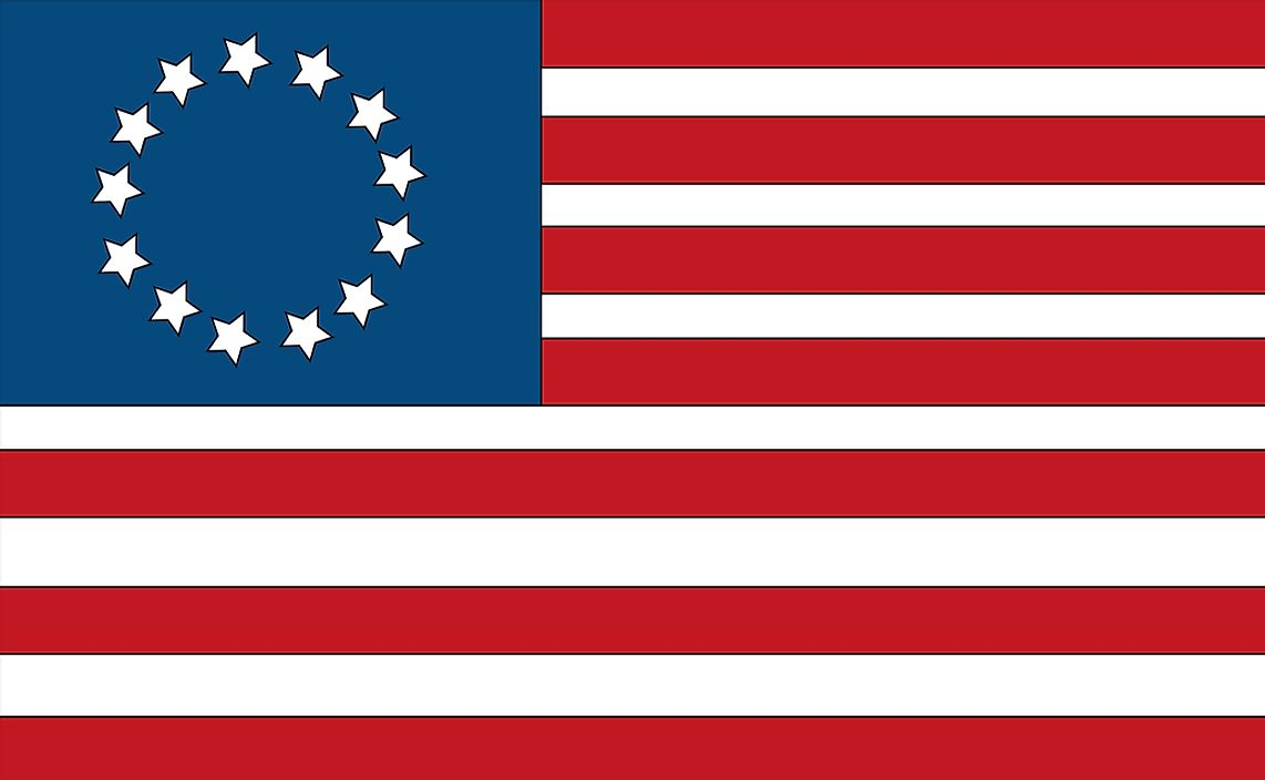 The first American flag, used to represent the Thirteen Colonies.
