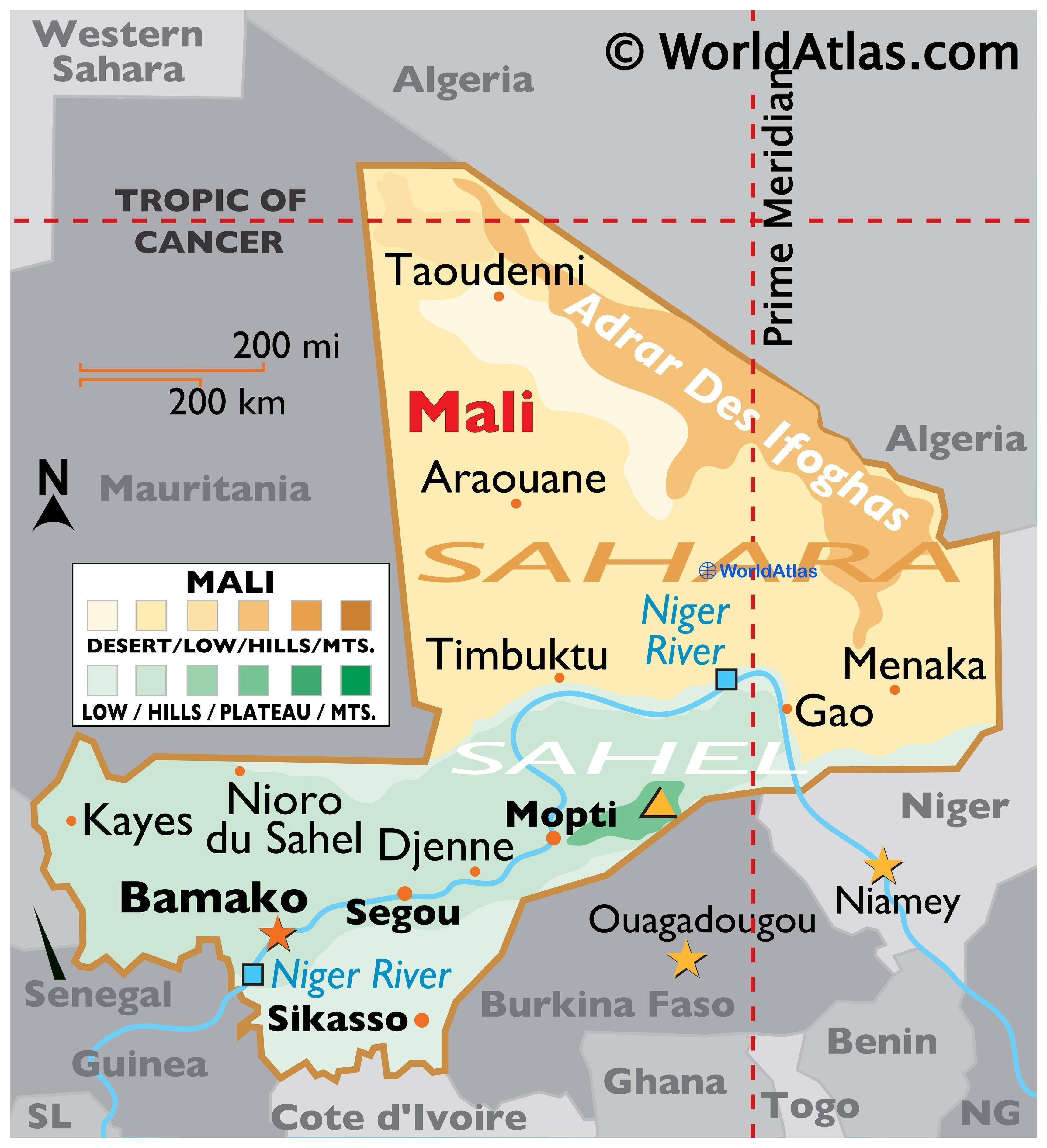 Physical Map of Mali with state boundaries, major rivers, deserts, highest peak, important cities, and more.