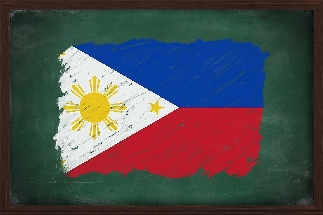 The Filipino flag on a chalkboard.