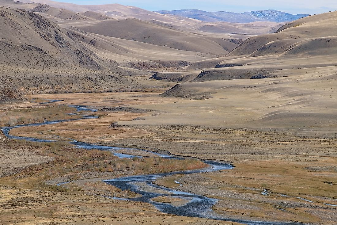 A fluvial terrace in Central Asia.