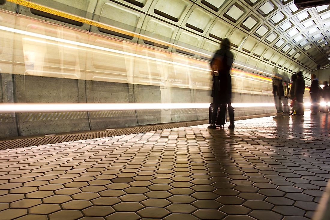 Passengers wait for a train in the metro system of Washington, D.C.