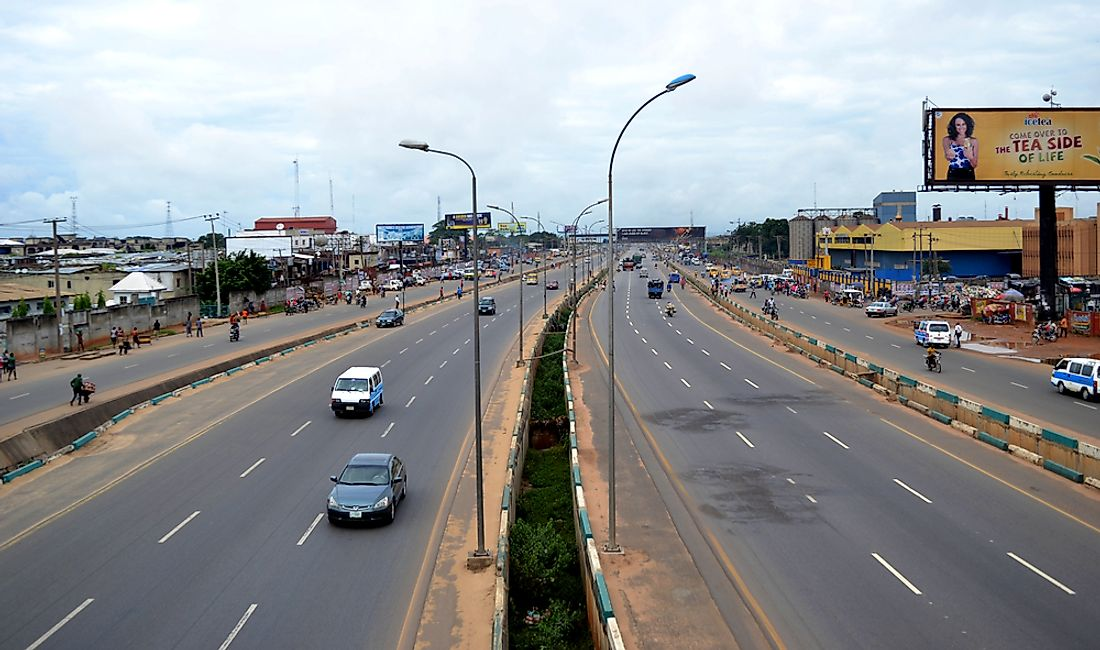 The city of Onitsha, Nigeria, whose air quality measures worse than any other city in Africa. Editorial credit: Omnivisuals / Shutterstock.com.