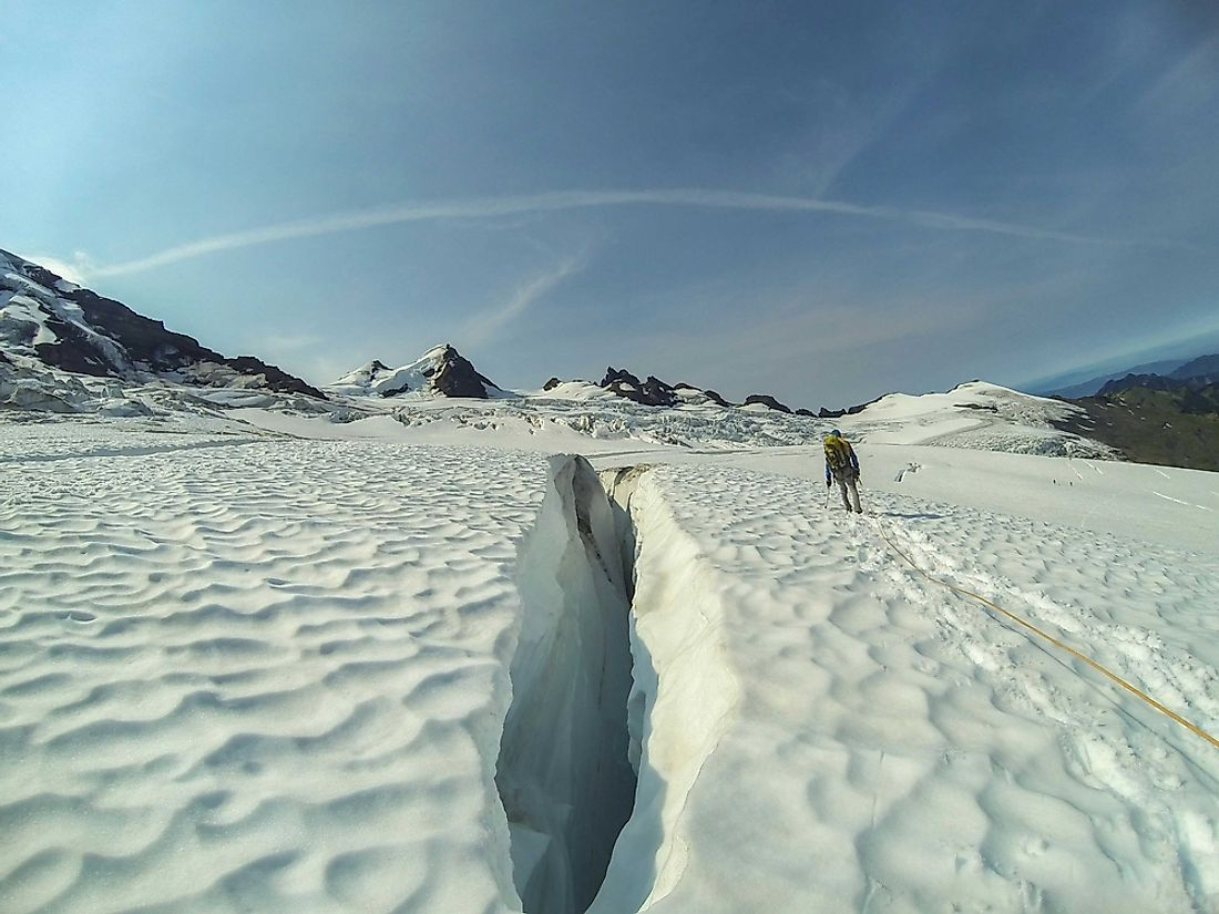 Crevasses can range from a few to hundreds of meters wide and deep.