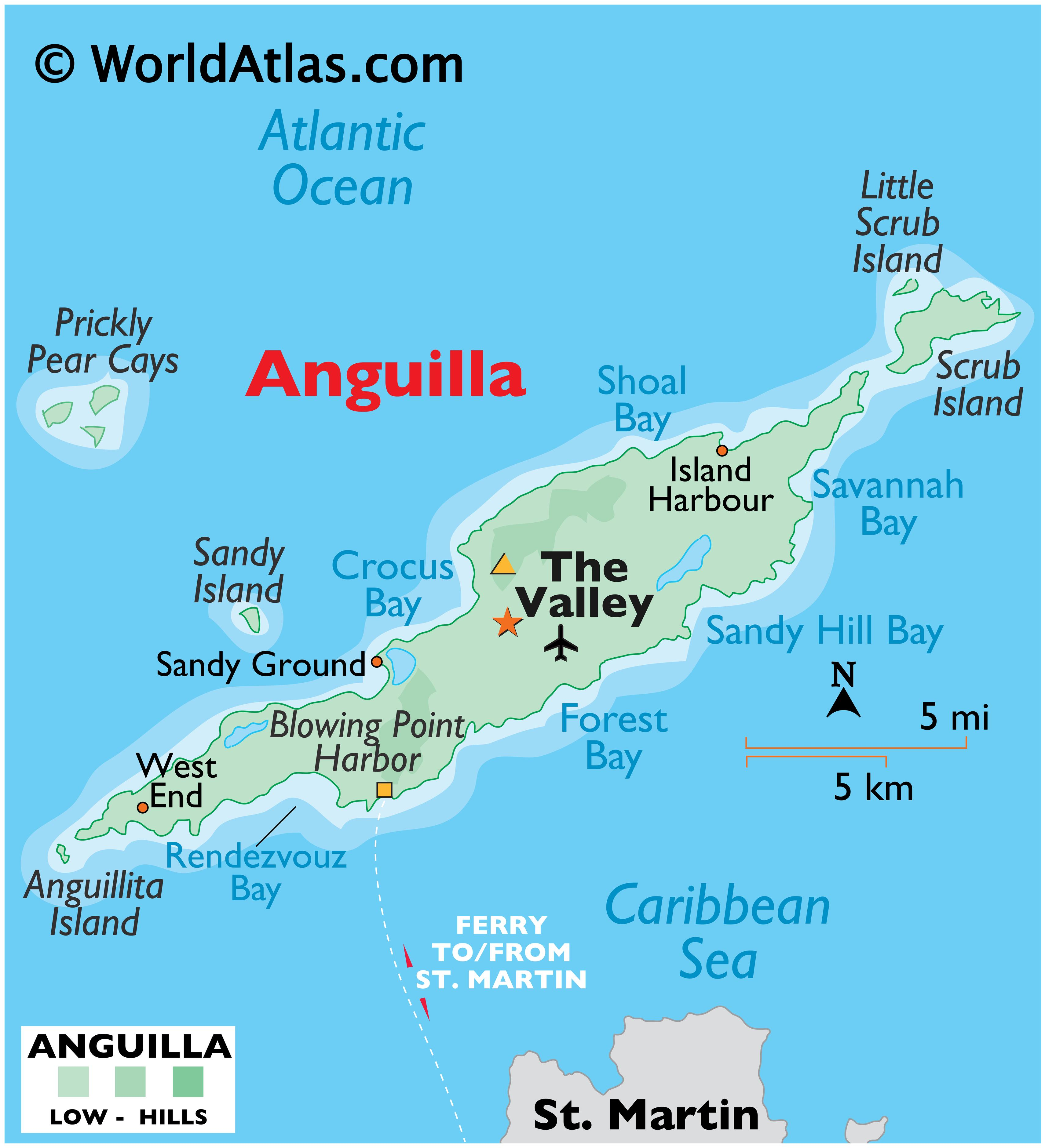 Physical Map of Anguilla showing islands, relief, important harbours, the capital, surrounding water features, and more.