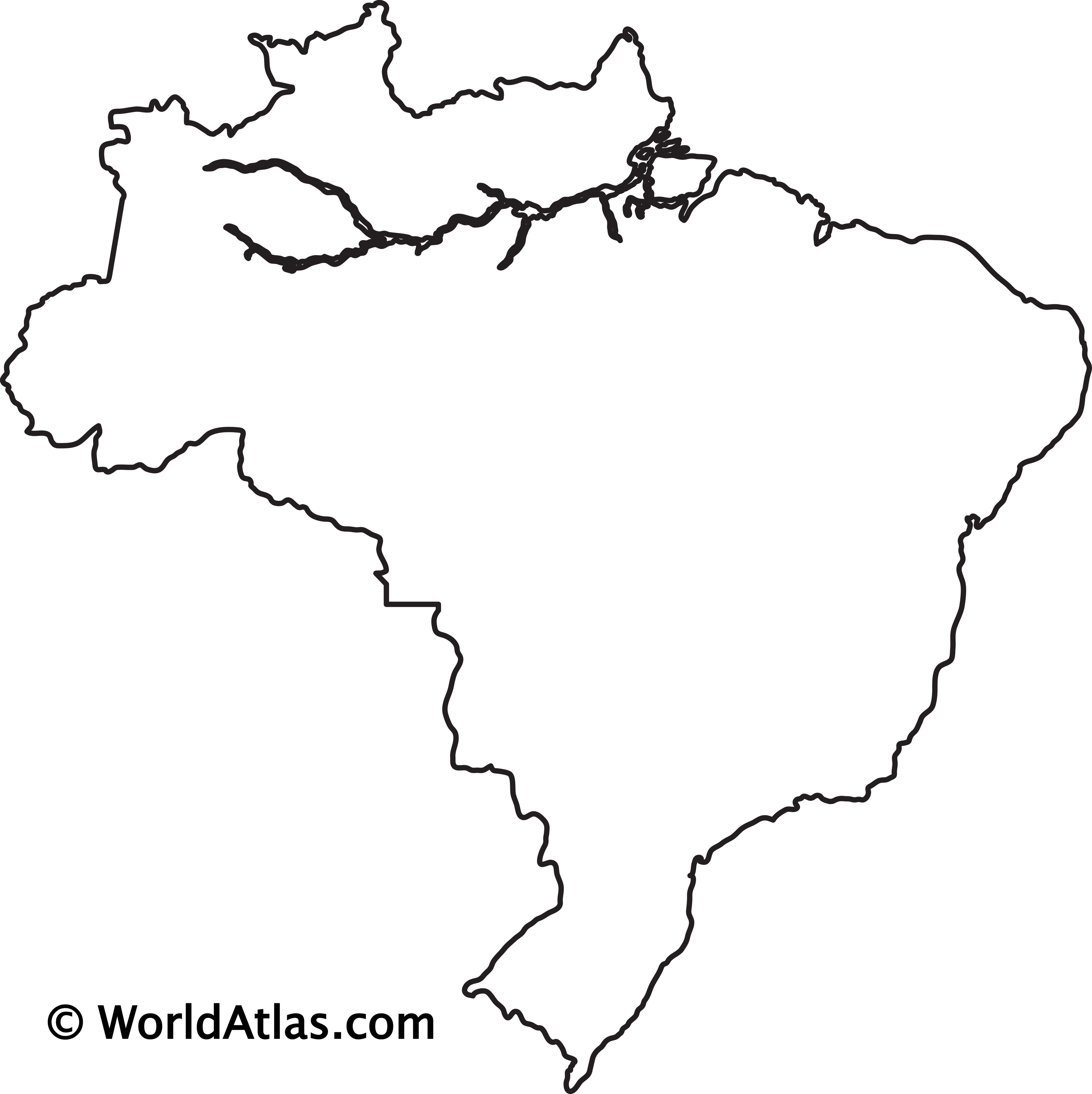 Blank Outline Map of Brazil
