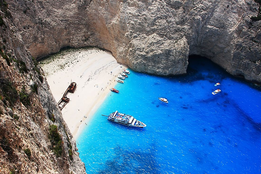 Smuggler's Cove Beach, Zakynthos, Greece.