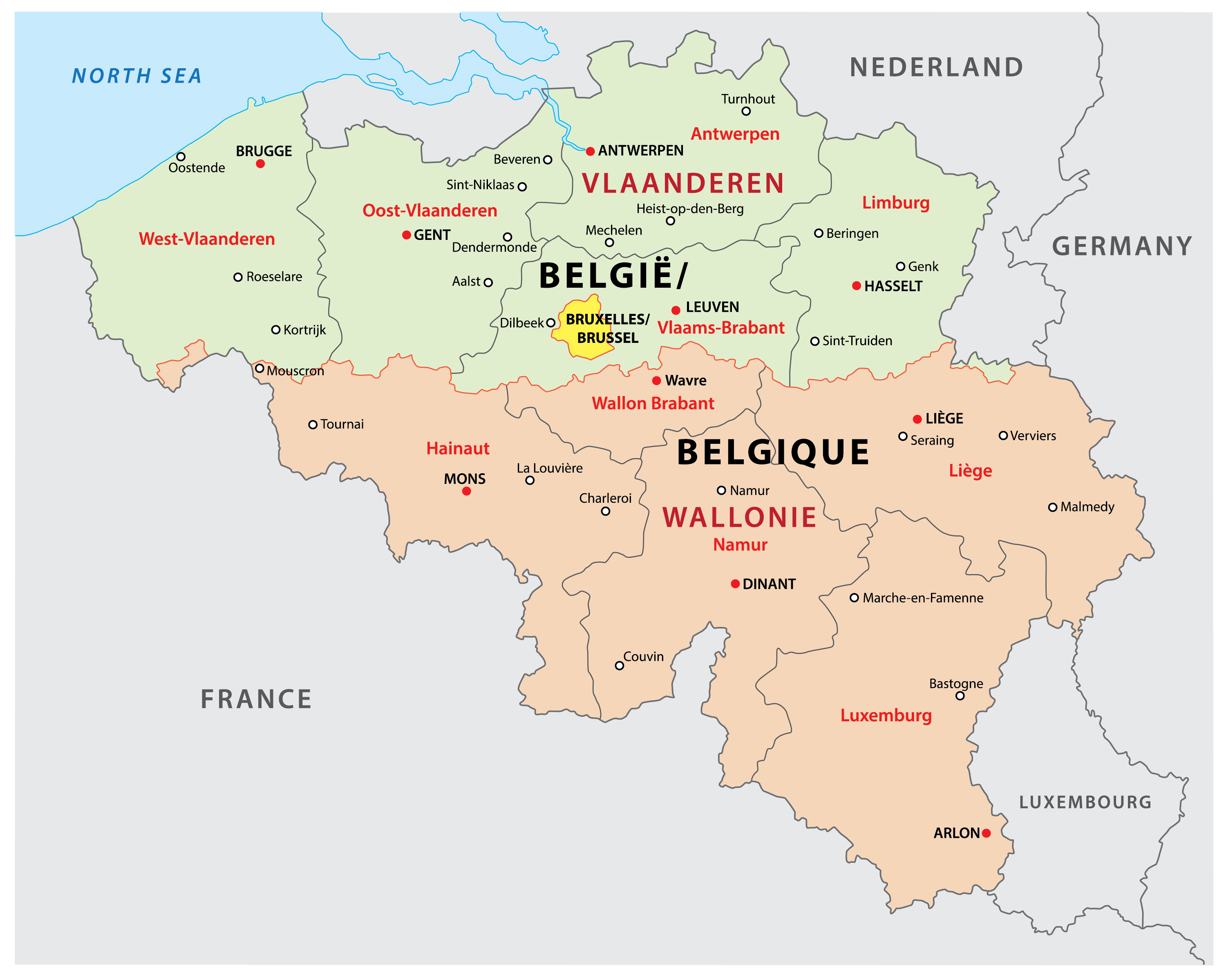 Political Map of Belgium showing its  3 regions and the capital city of Brussels