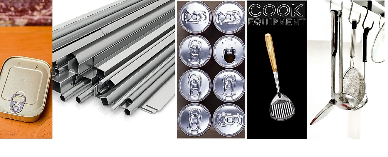 A diverse array of aluminum products.