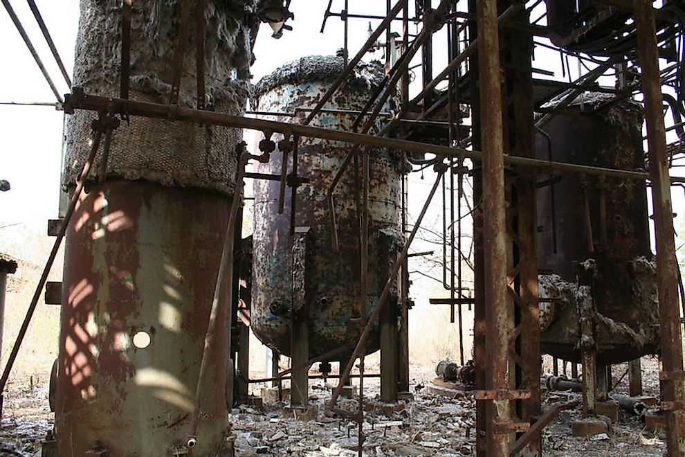 What remains of the Bhopal-Union Carbide plant years after the disaster.