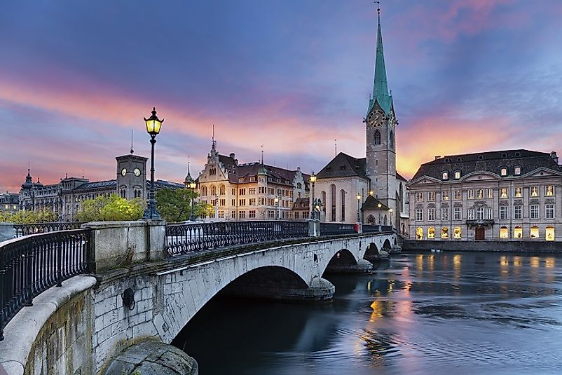 Zurich, the largest city in Switzerland, is world-renowned for its banking and finance sector.