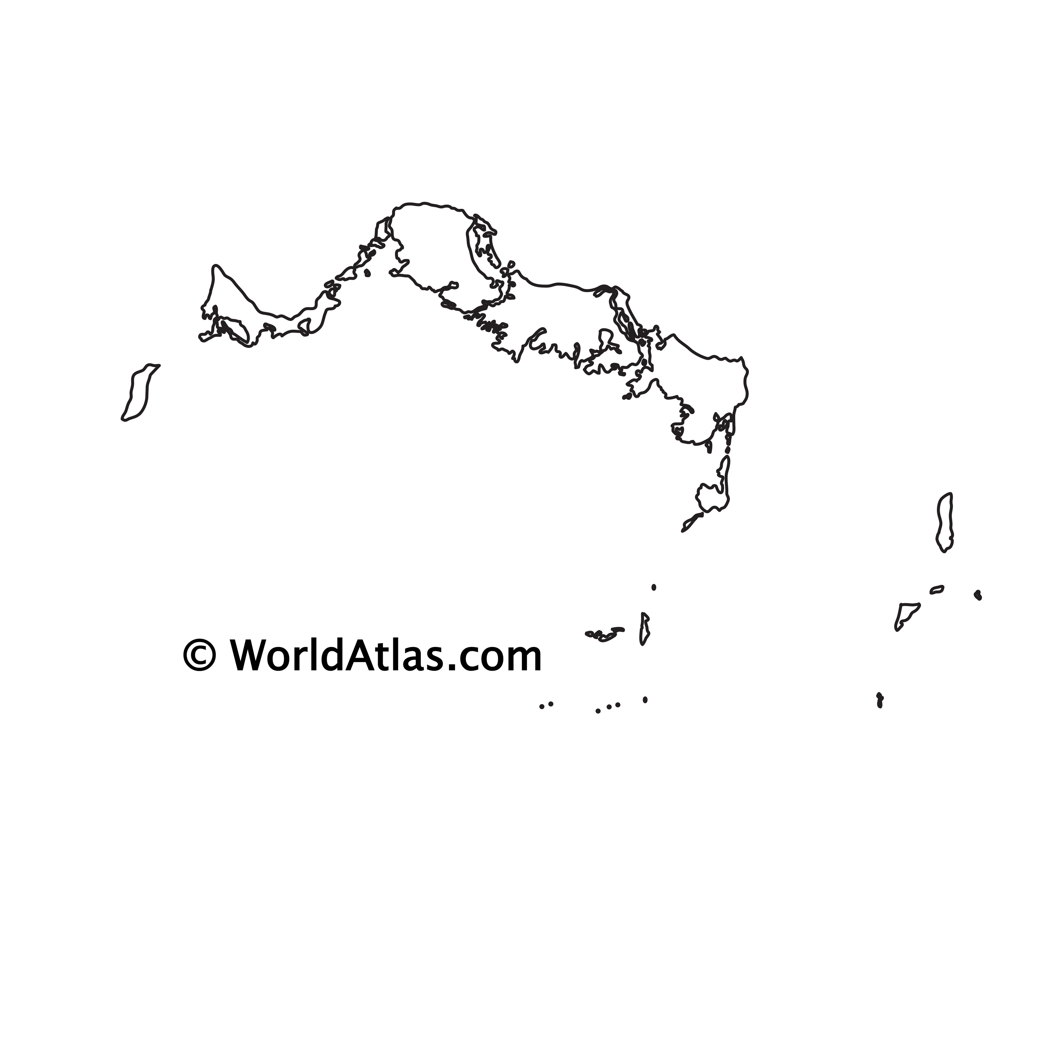 Blank Outline Map of Turks and Caicos