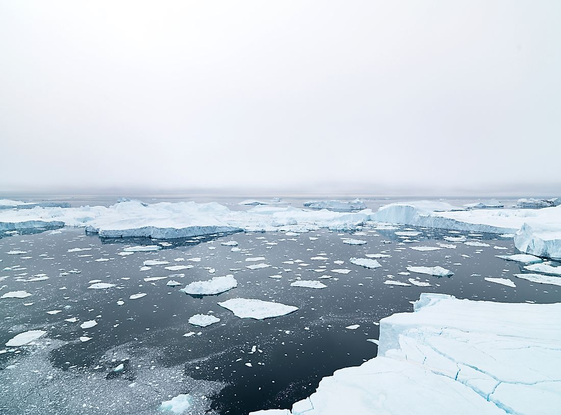 The Arctic Ocean is covered in masses of sea ice during most of the year.