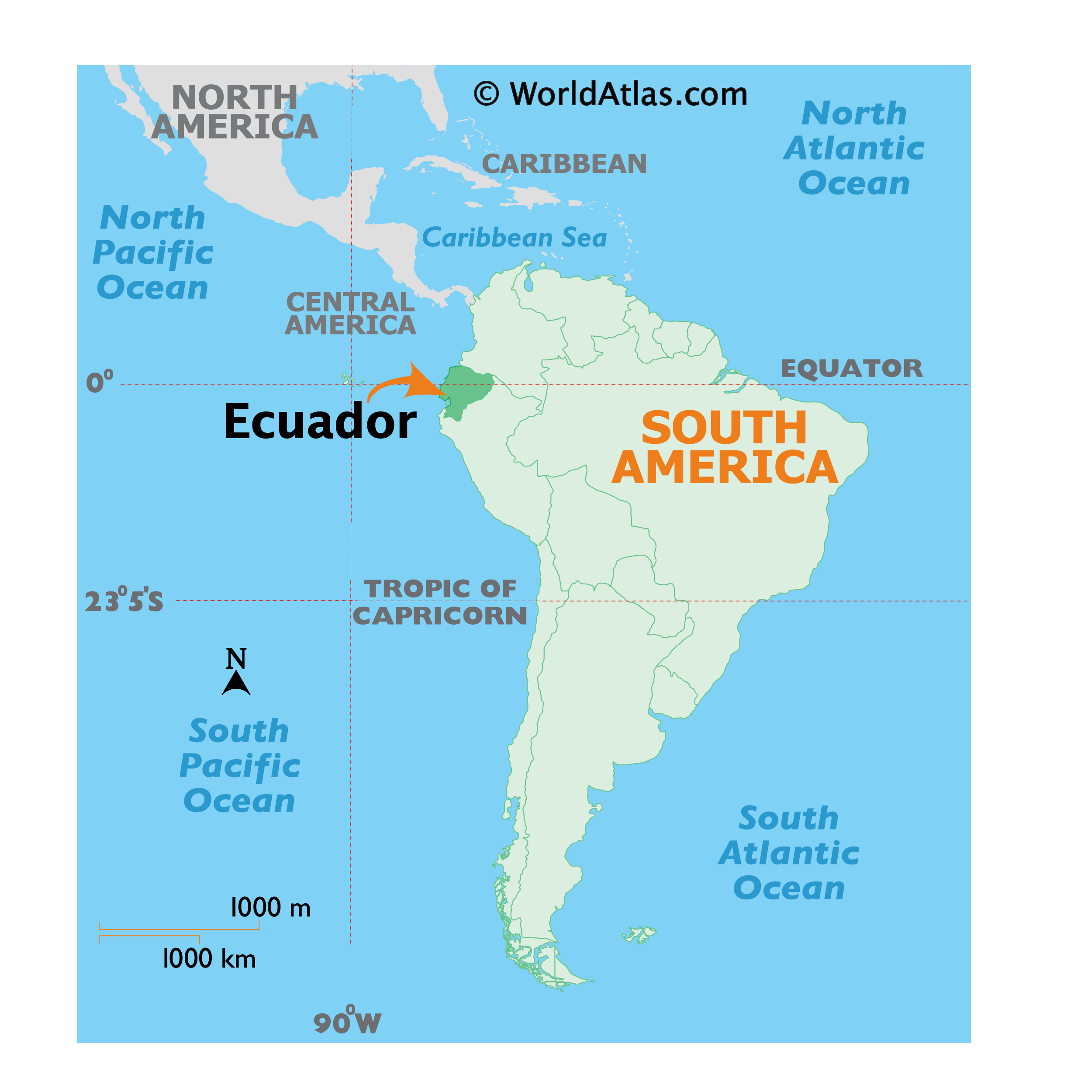 Map showing location of Ecuador in the world.