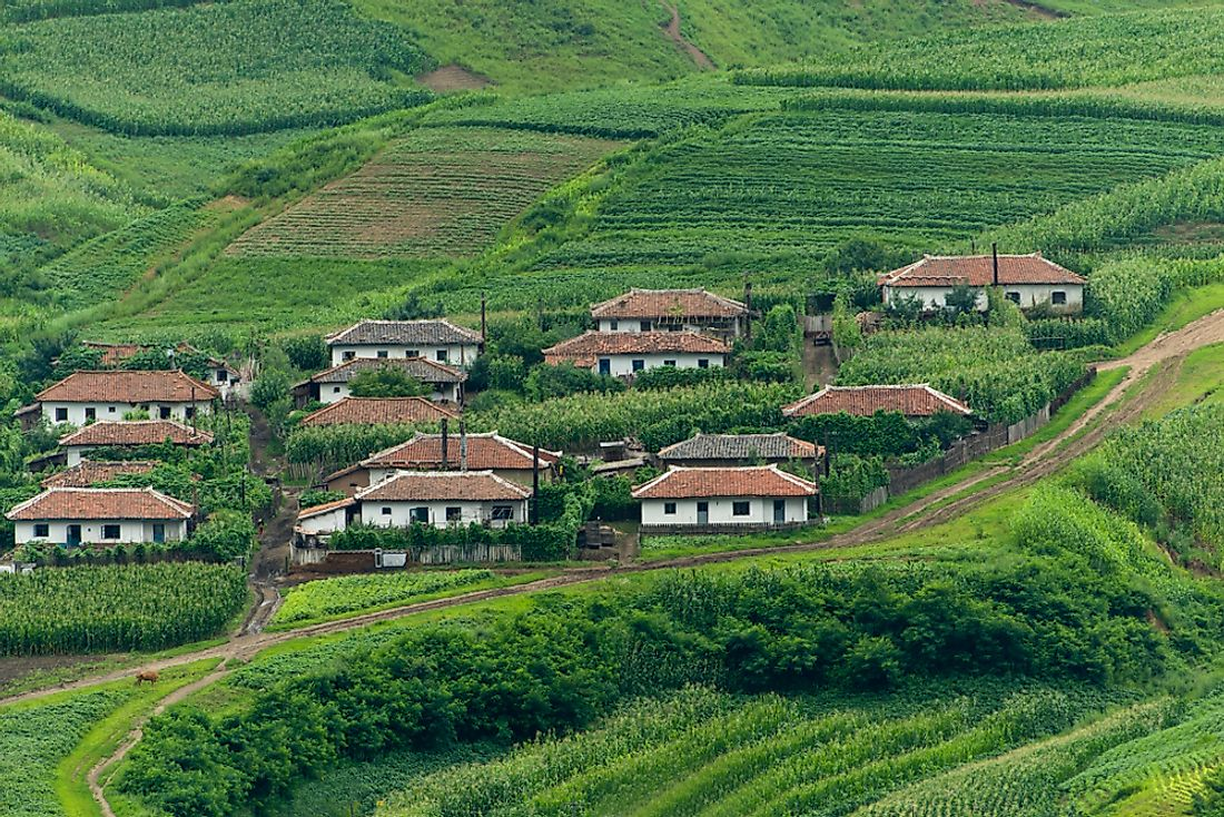 Traditional houses in the North Korean countryside.