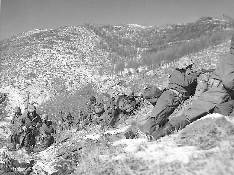 U.S. Marines engaging the Chinese during the Battle Of Chosin Reservoir.