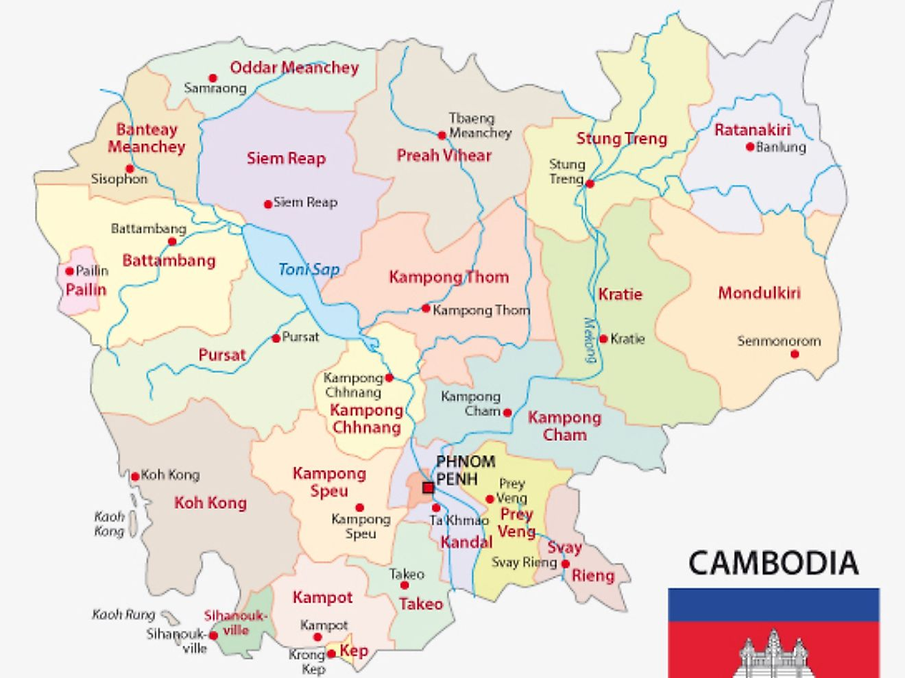 Political Map of Cambodia showing 21 provinces, their capitals, and the national capital of Phnom Penh.