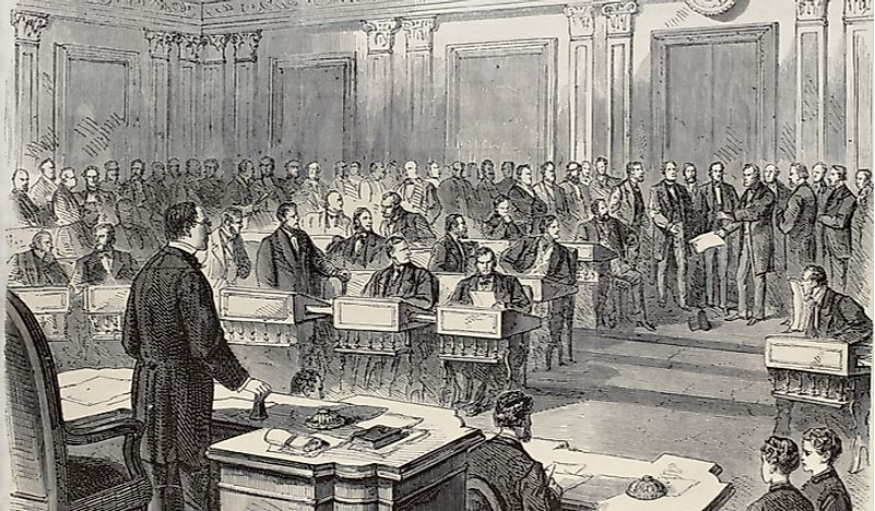 The Senate as a Court of Impeachment for the Trial of Andrew Johnson, one of the most dramatic events in US history.
