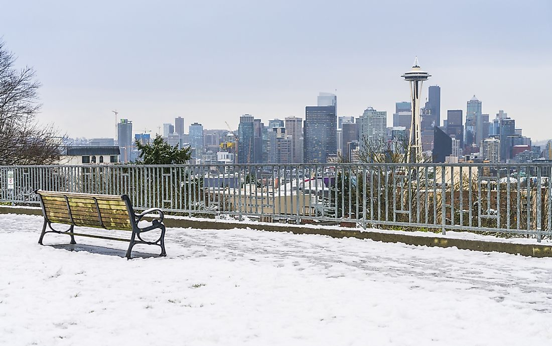 A view of the Seattle cityscape with snow.