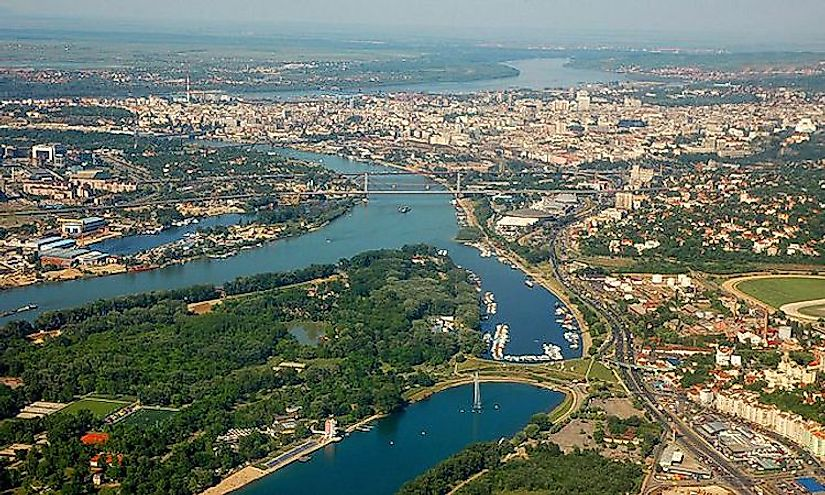 Belgrade located at the confluence of the Sava and Danube rivers,