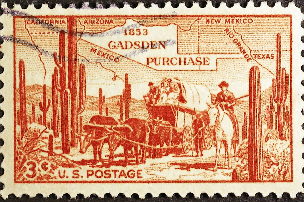 A stamp dedicated to the Gadsden Purchase. Editorial credit: spatuletail / Shutterstock.com.