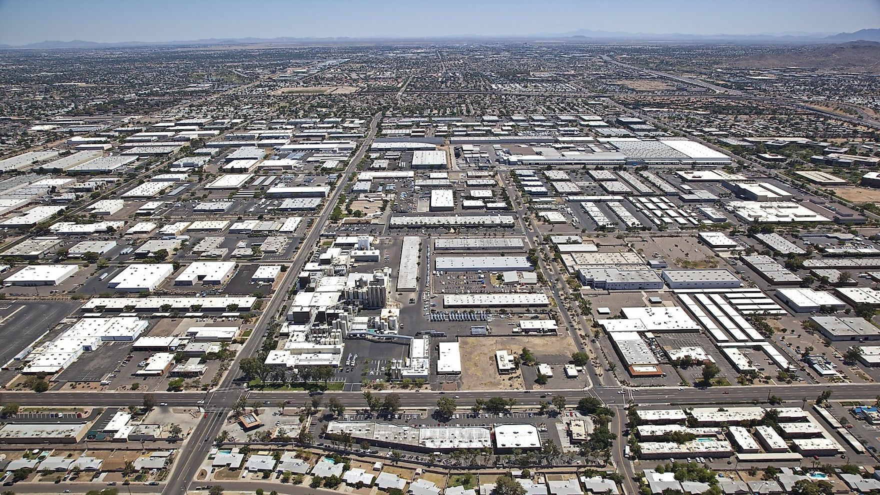 Aerial view of industrial area in Tempe, Arizona.