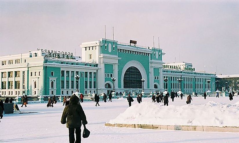 A winter scene in front of the railway station in Novosibirsk, Russia.