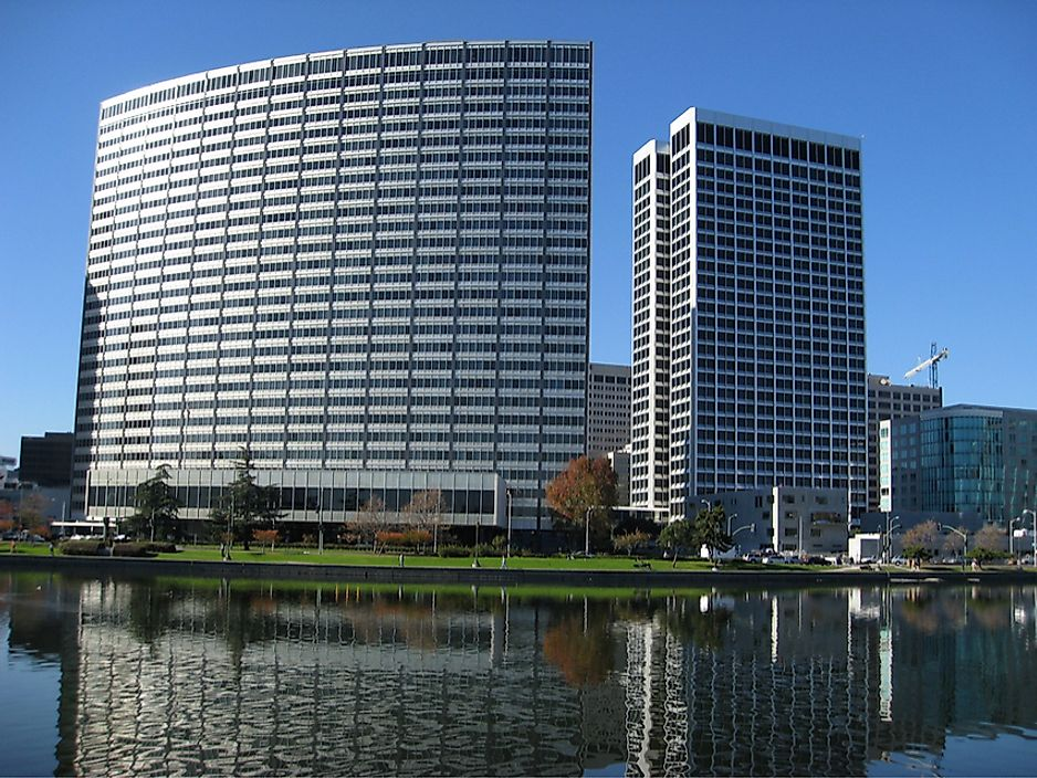 The Kaiser Centre (left) and Ordway Building (right) are two of the tallest buildings in Oakland, California.