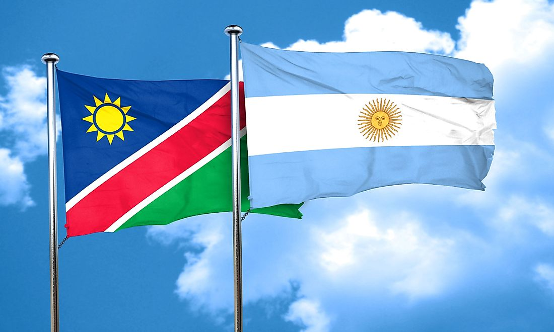 The flag of Namibia (left) and the flag of Argentina (right) both feature suns.
