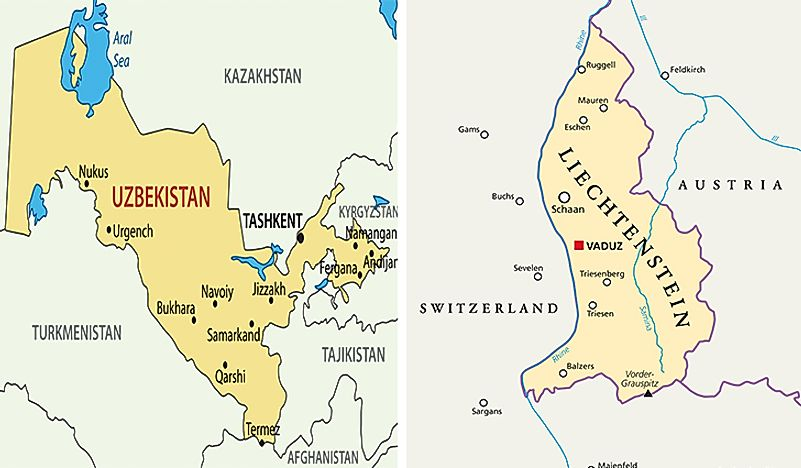 Uzbekistan and Liechtenstein shown on the map.