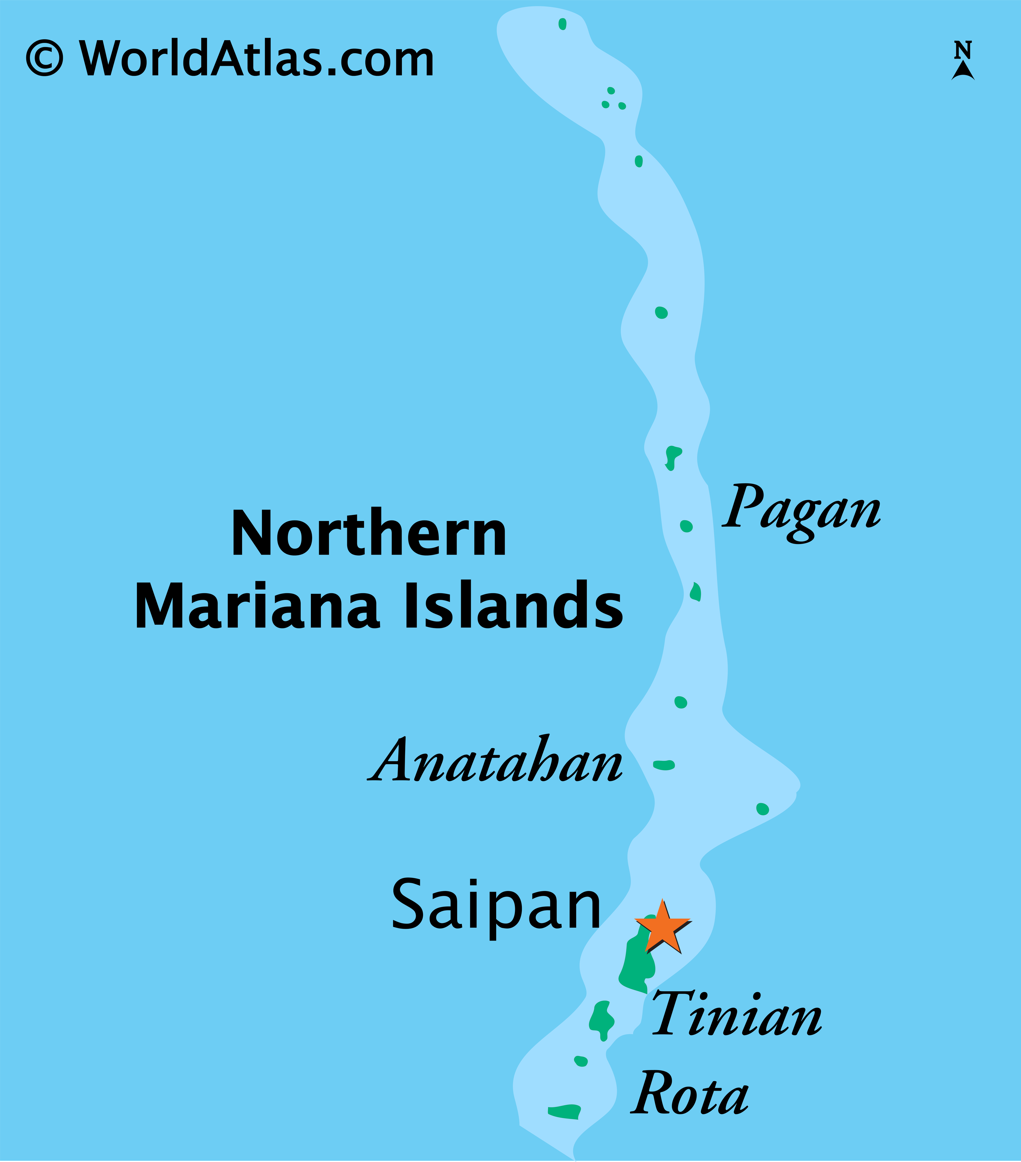 Physical Map of Northern Mariana Islands