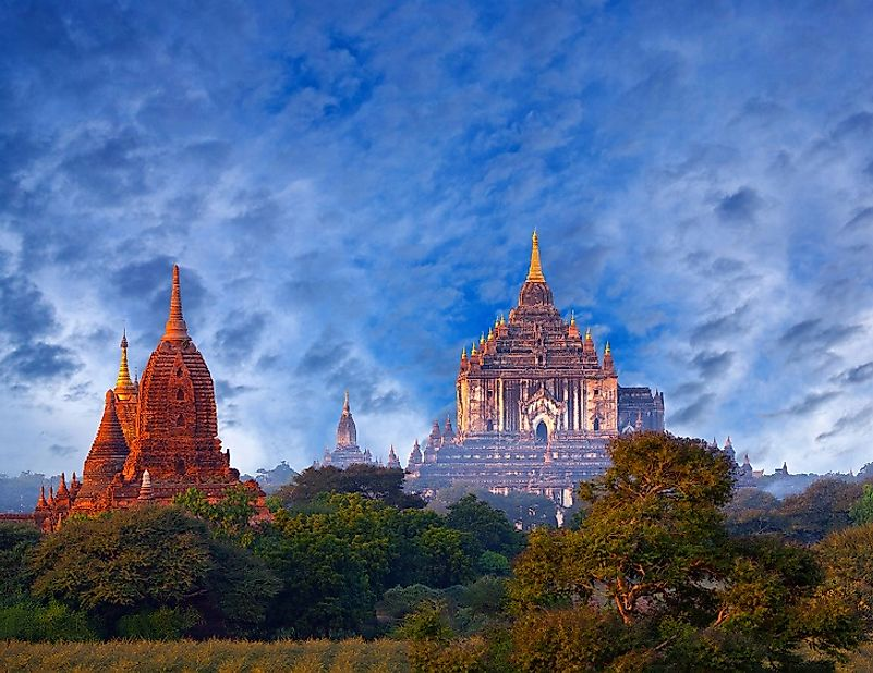 Theravada Buddhist temples in Myanmar's Bagan Archaeological Zone, some of which date back almost 1,000 years.