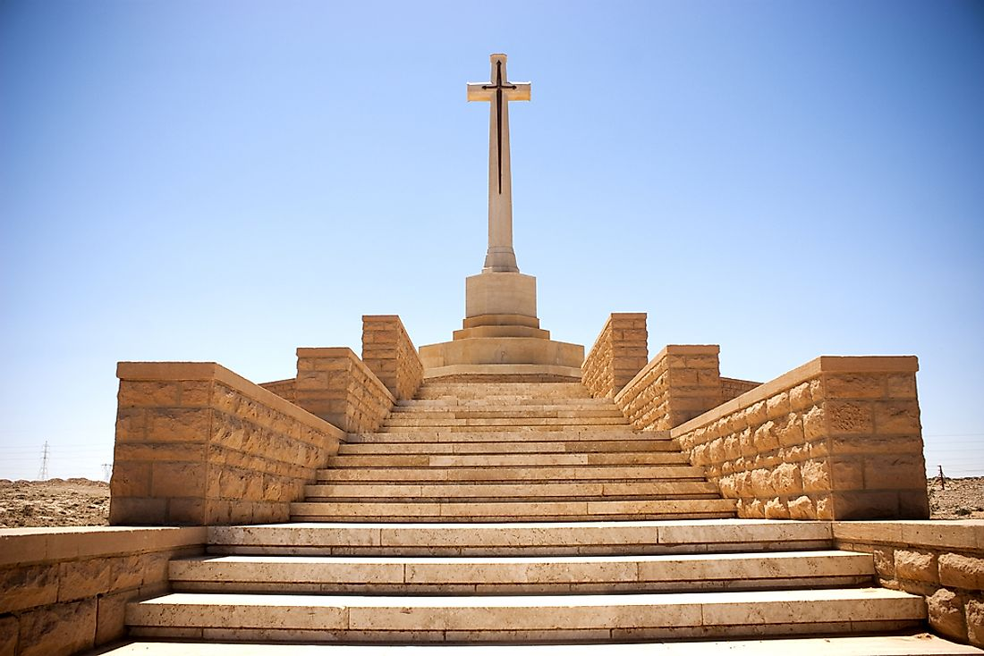 A monument to lives lost stands in Tobruk, Libya.
