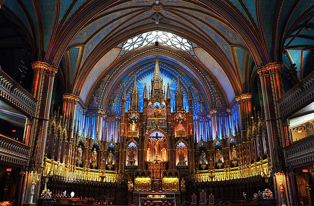 Beautiful interior of Montreal's Notre Dame Cathedral, a Roman Catholic Church in the province of Quebec, Canada.