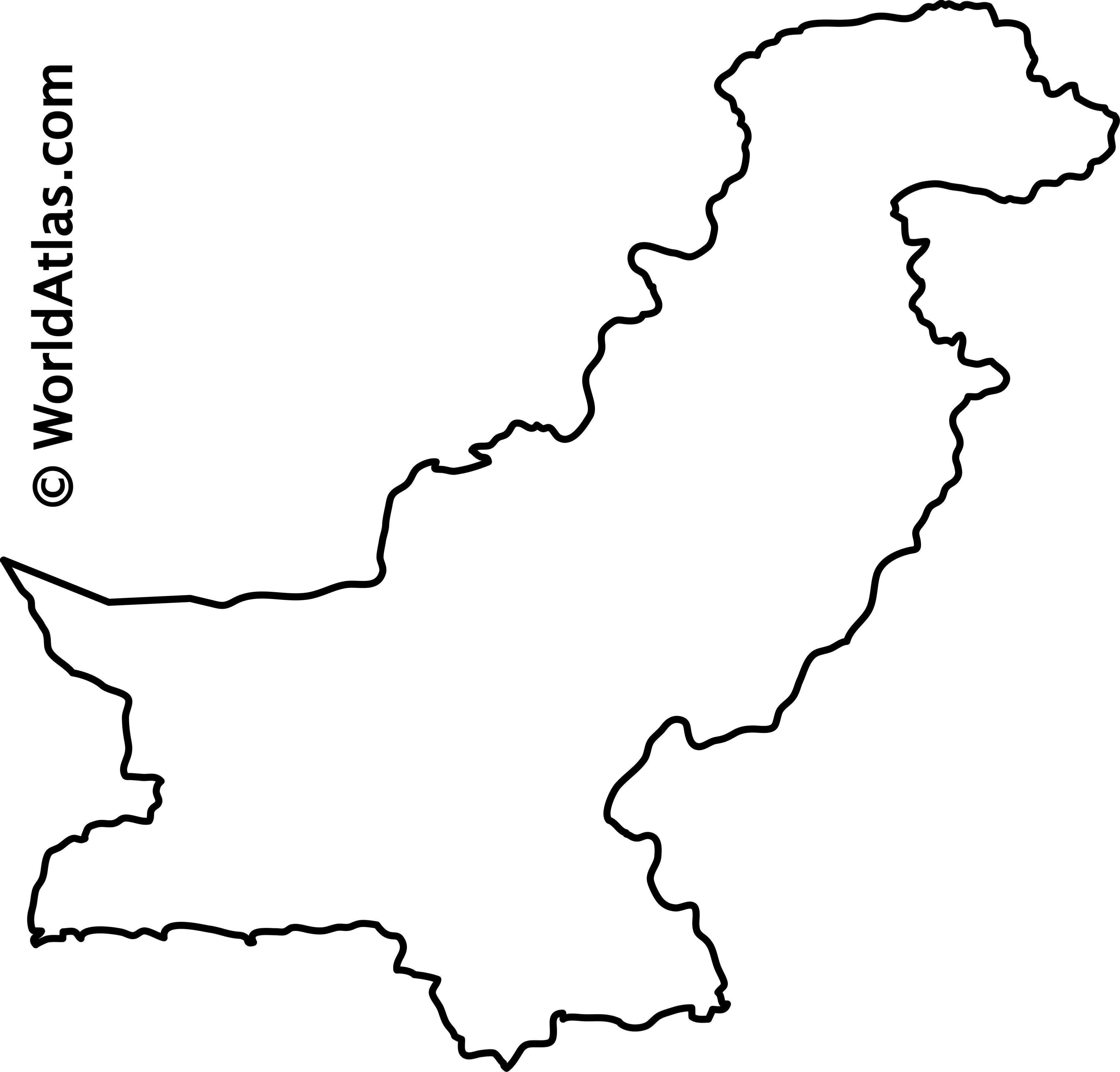 Blank Outline Map of Pakistan