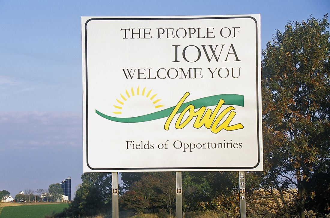 """Welcome to Iowa"" sign."