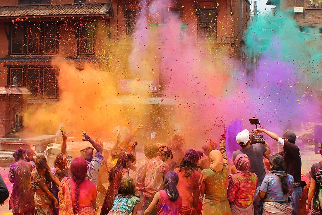 Colored powders are used to celebrate the Holi Festival.
