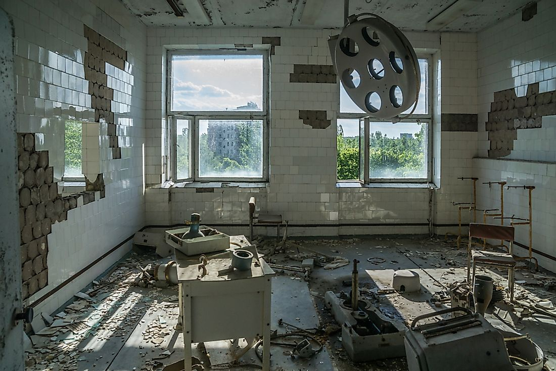 A former operating room in the abandoned radioactive town of Chernobyl, Ukraine.