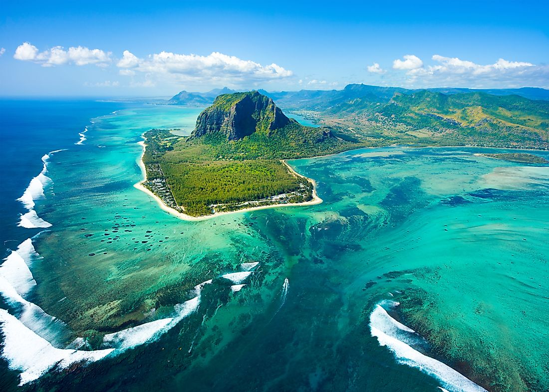 An aerial view of Mauritius.