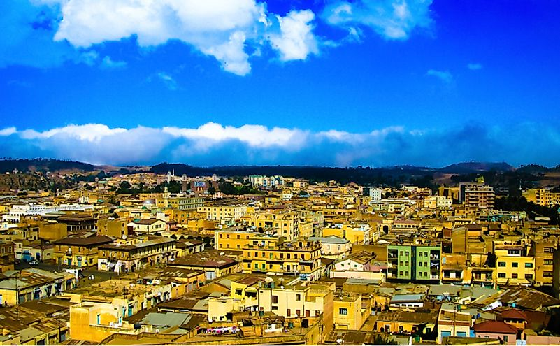 Aerial view to Asmara, capital of Eritrea.