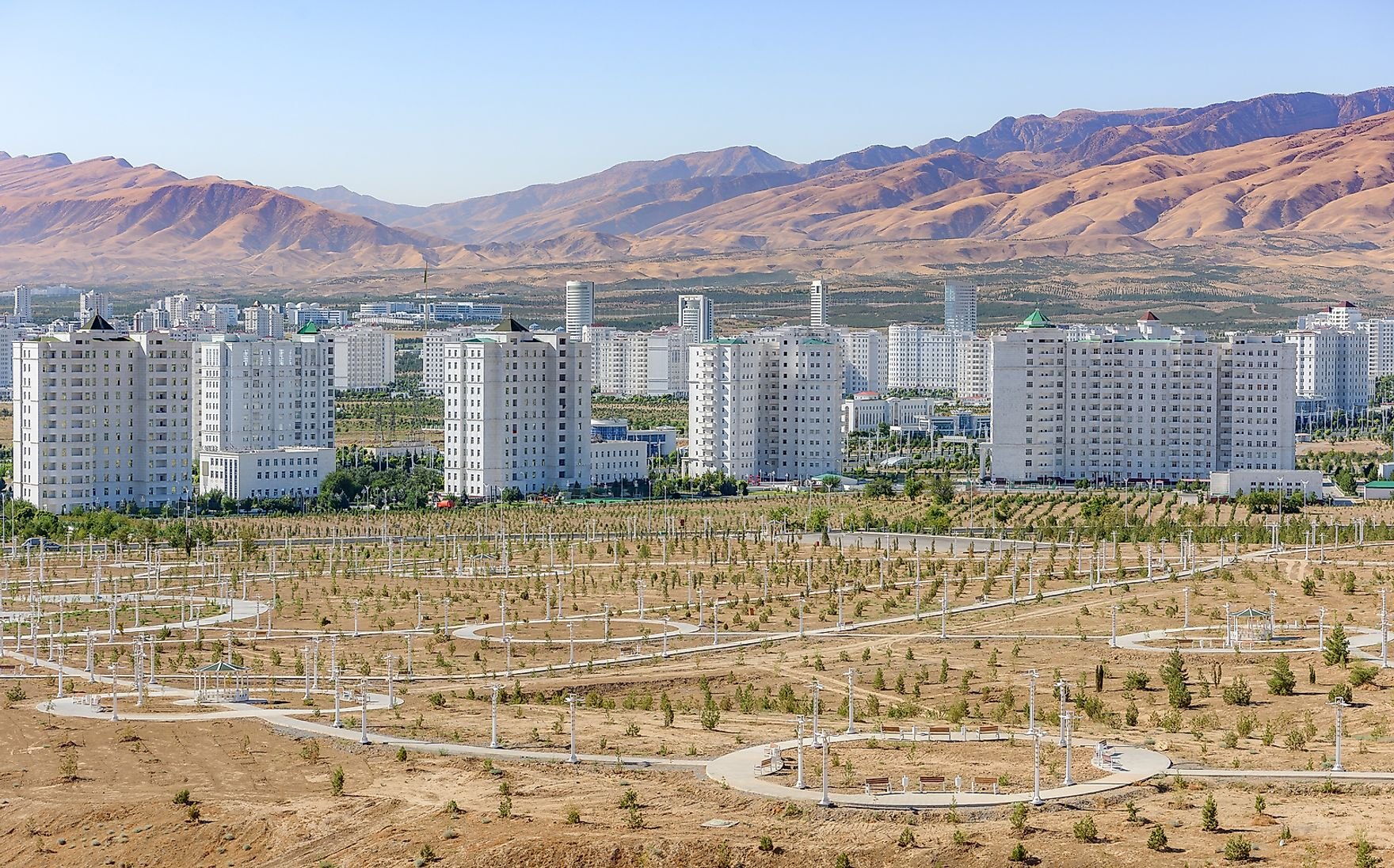 Many buildings in Ashgabat are reminiscent of old Soviet blocks, except made of marble.
