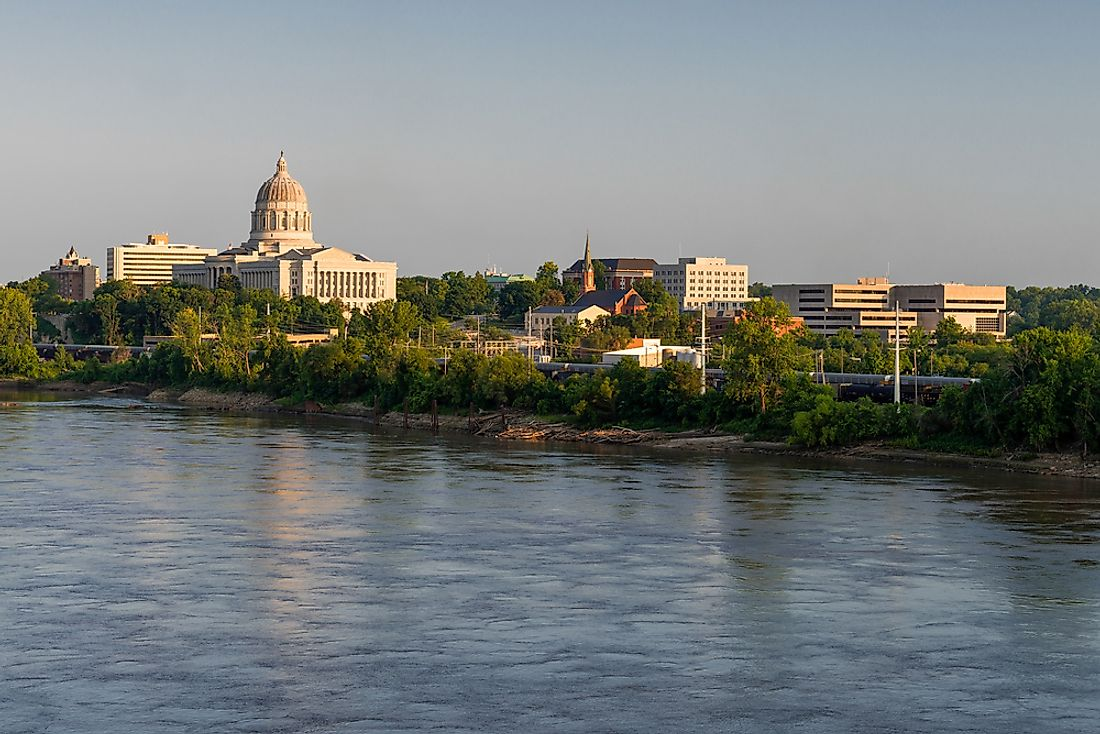 Missouri River flowing through Jefferson City, the capital of the state of Missouri.