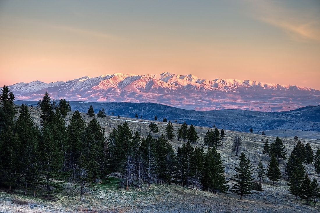 Montana's Crazy Mountains are an example of an island range due to its separation from larger ranges.