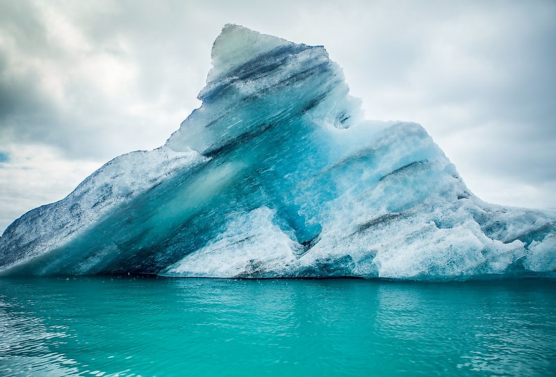 Icebergs are found in the frigid waters of the polar regions.